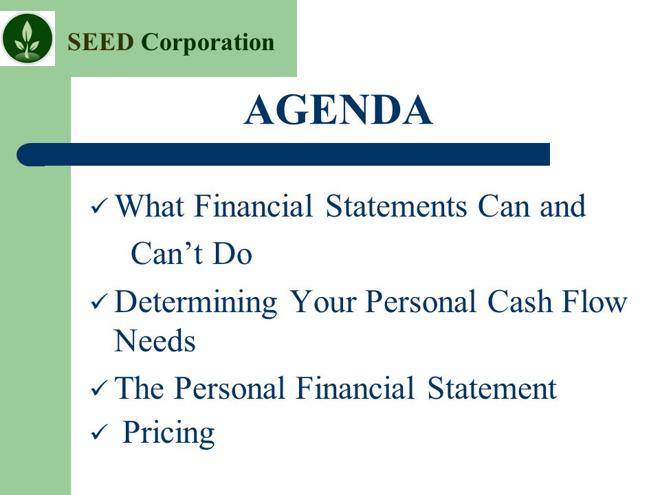 AGENDA What Financial Statements Can And Canu0027t Do