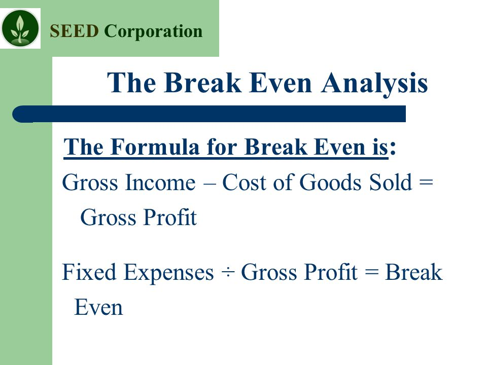 The Break Even Analysis