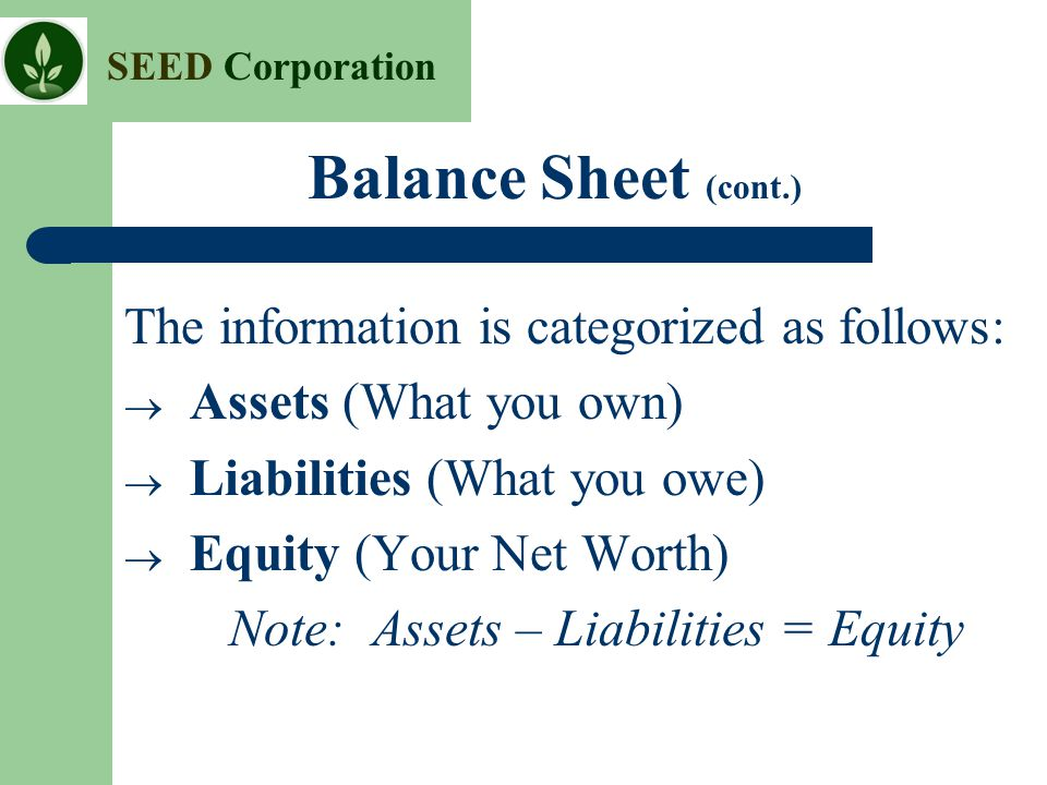 Balance Sheet (cont.) The information is categorized as follows: