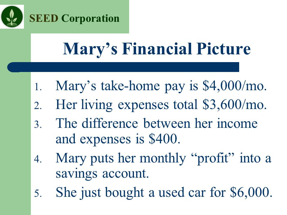 Mary's Financial Picture