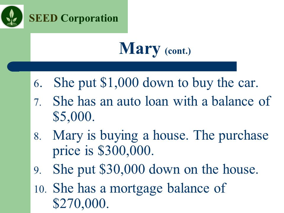 Mary (cont.) She has an auto loan with a balance of $5,000.