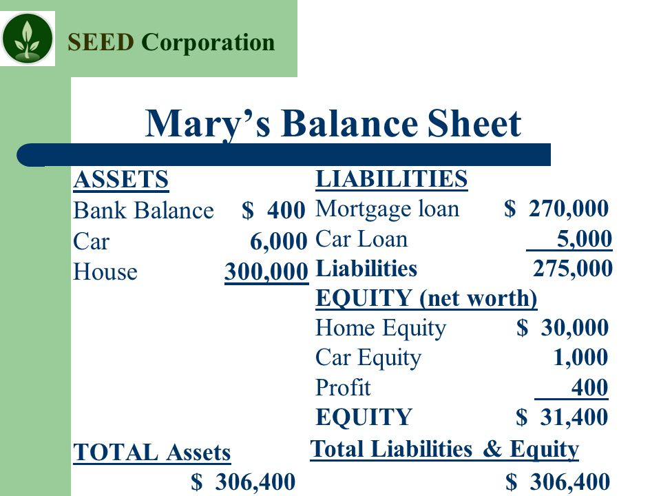 Mary's Balance Sheet ASSETS Bank Balance $ 400 Car 6,000 House 300,000