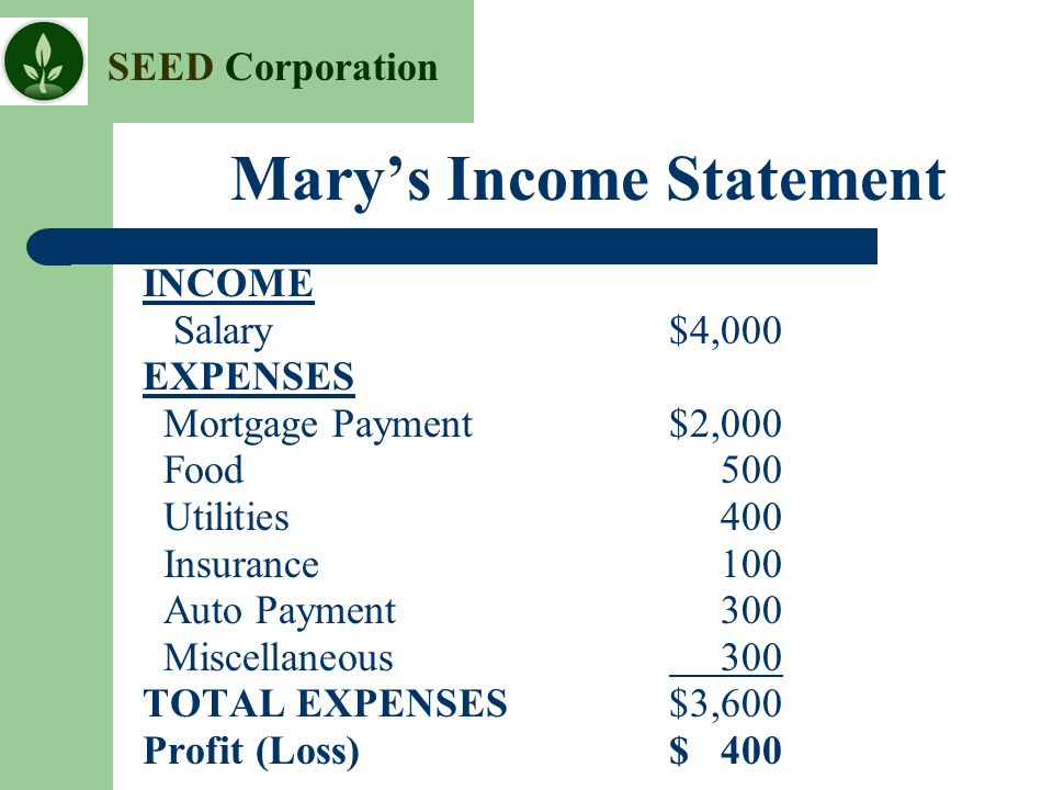 Mary's Income Statement
