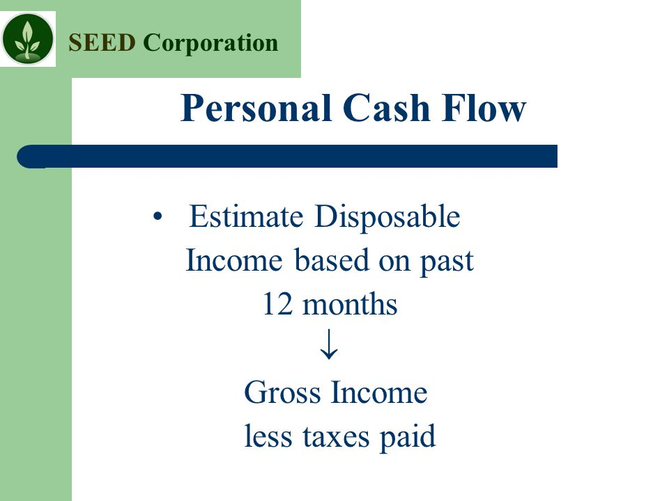 Personal Cash Flow • Estimate Disposable Income based on past