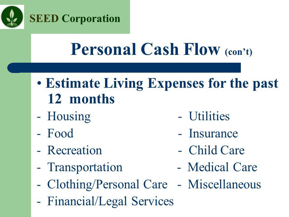 Personal Cash Flow (con't)