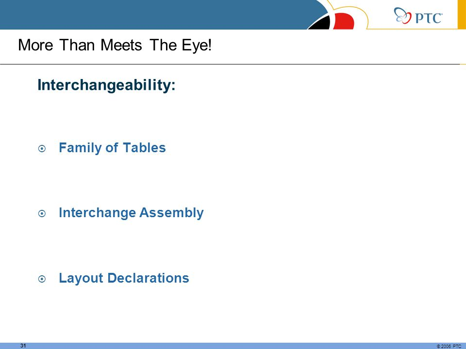 More Than Meets The Eye! Interchangeability: Family of Tables