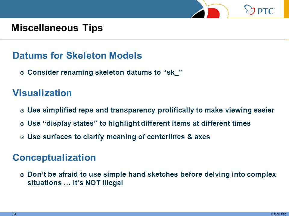 Miscellaneous Tips Datums for Skeleton Models Visualization