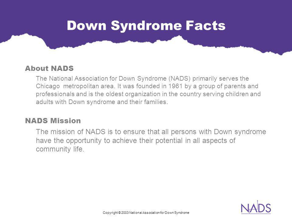 Copyright © 2003 National Association for Down Syndrome