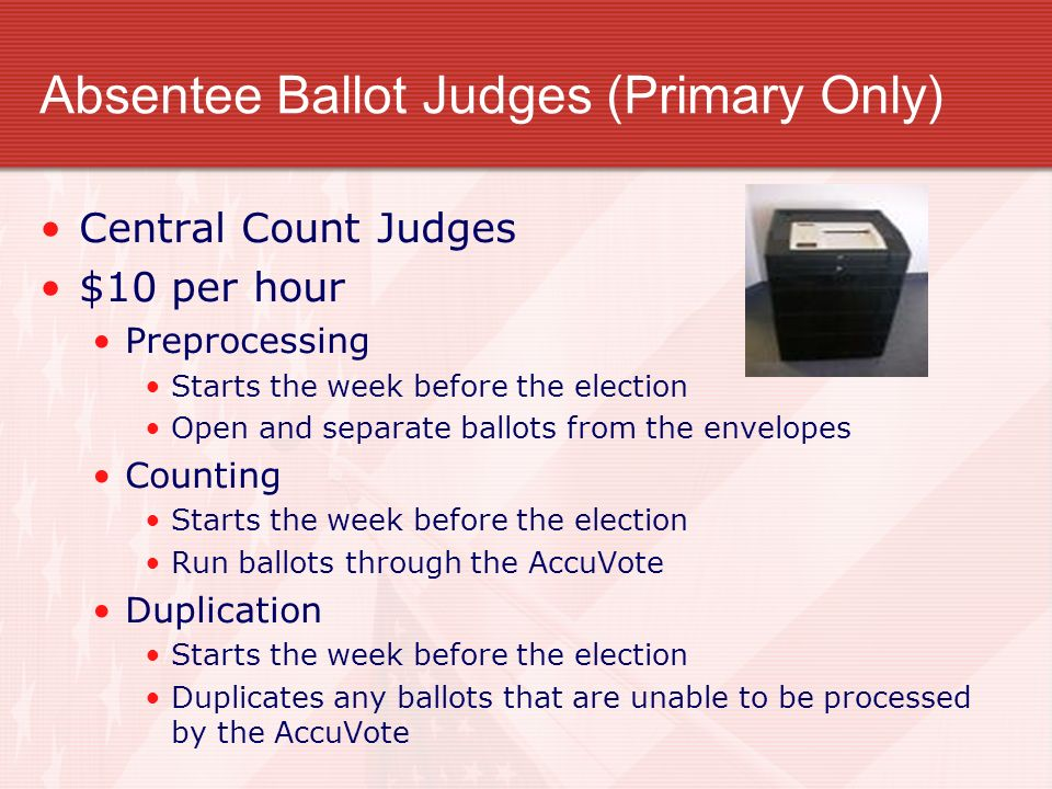 Absentee Ballot Judges (Primary Only)