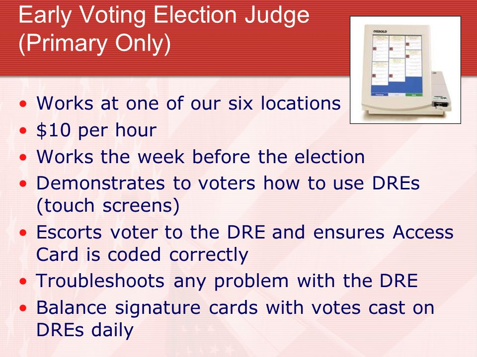 Early Voting Election Judge (Primary Only)
