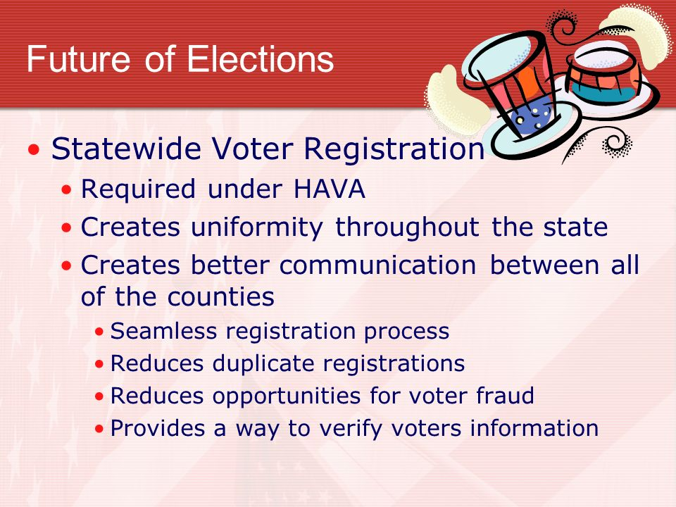 Future of Elections Statewide Voter Registration Required under HAVA