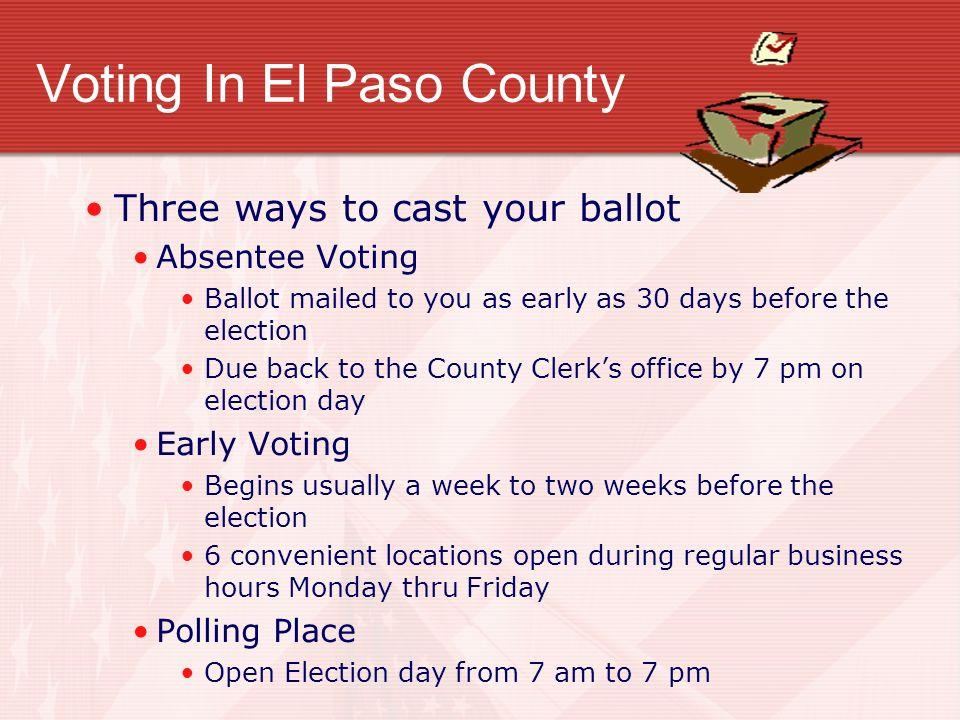 Voting In El Paso County