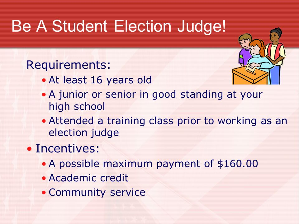 Be A Student Election Judge!