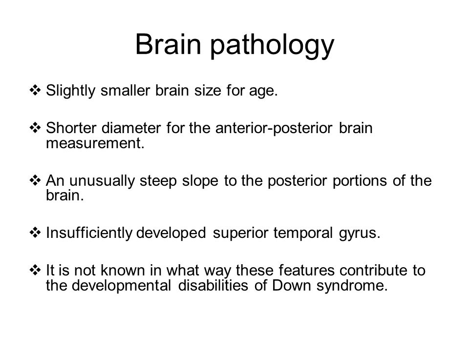 Brain pathology Slightly smaller brain size for age.