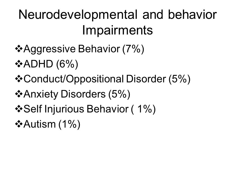 Neurodevelopmental and behavior Impairments