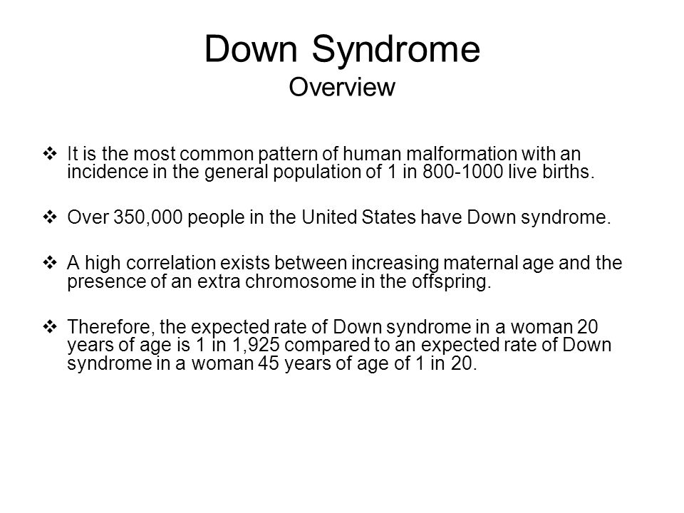 Down Syndrome Overview