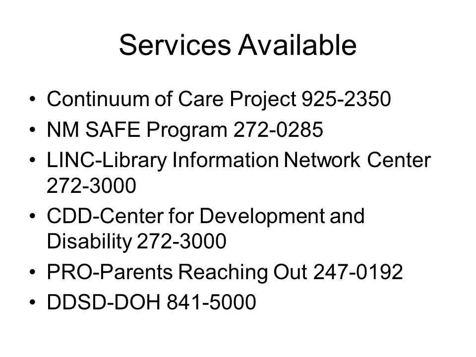 Services Available Continuum of Care Project 925-2350