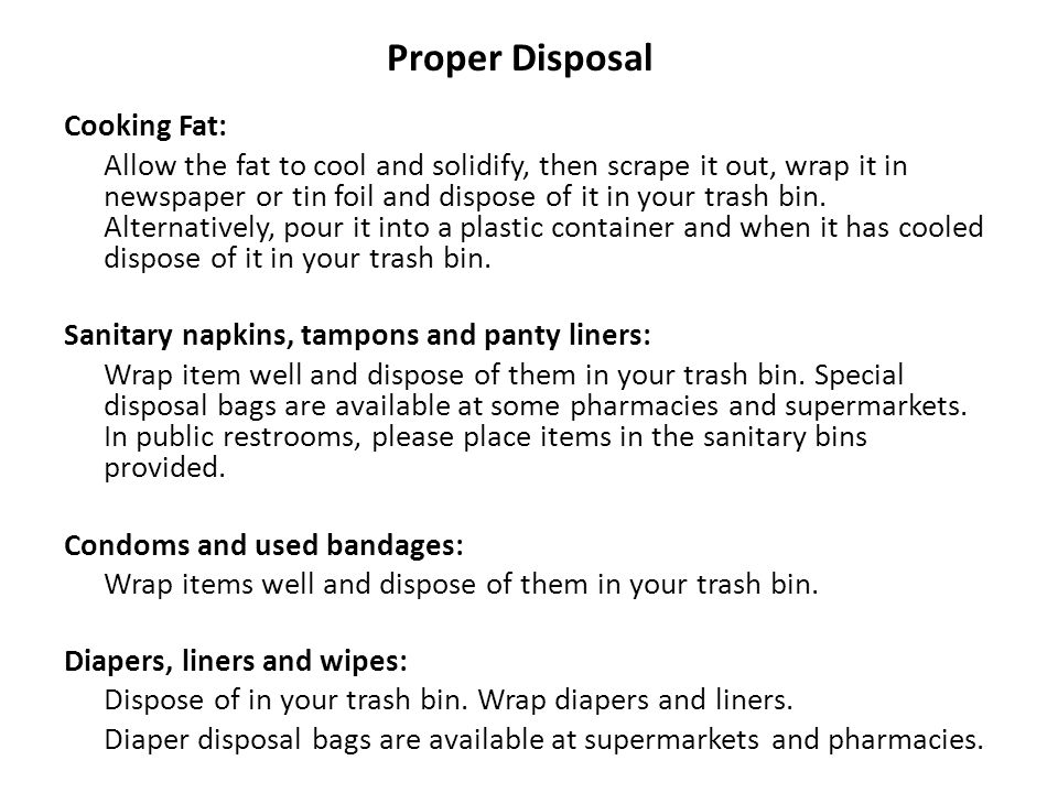 Proper Disposal Cooking Fat: