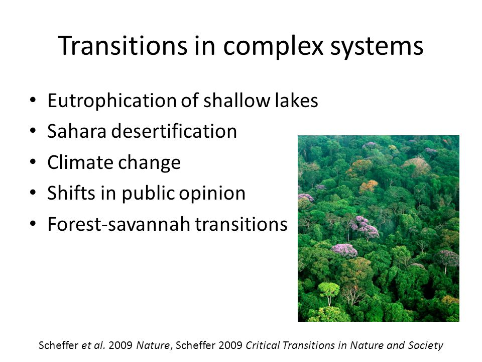 Transitions in complex systems