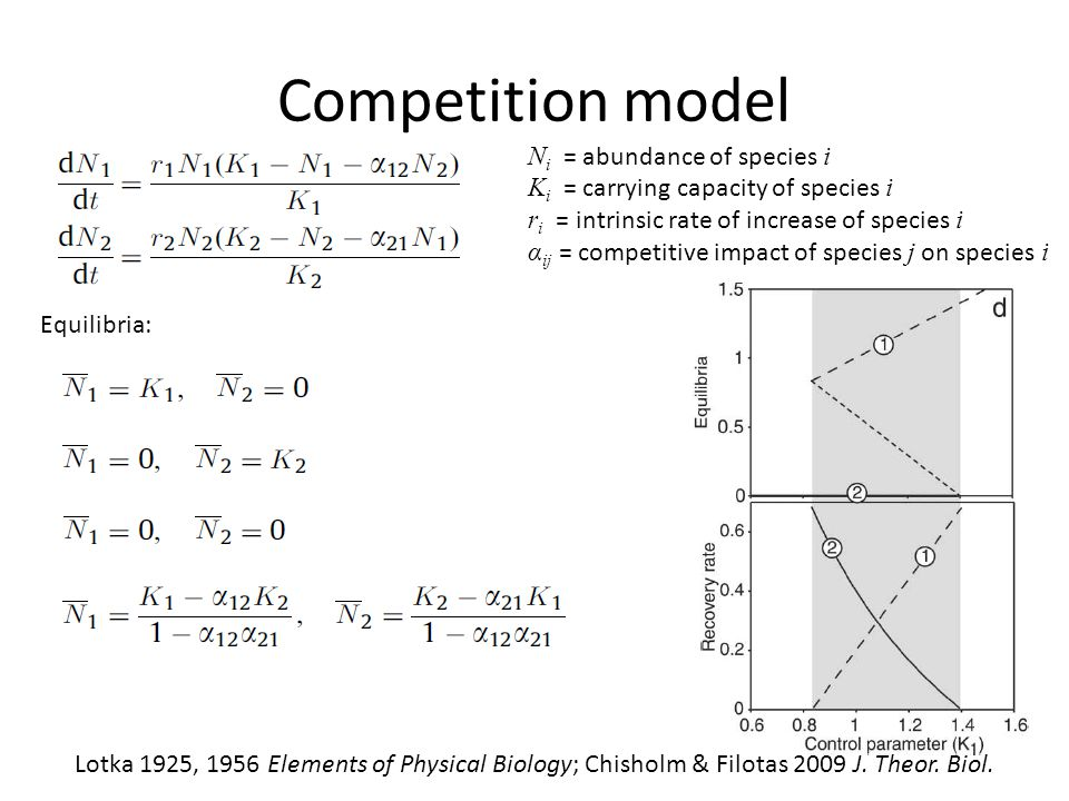 Competition model Ni = abundance of species i