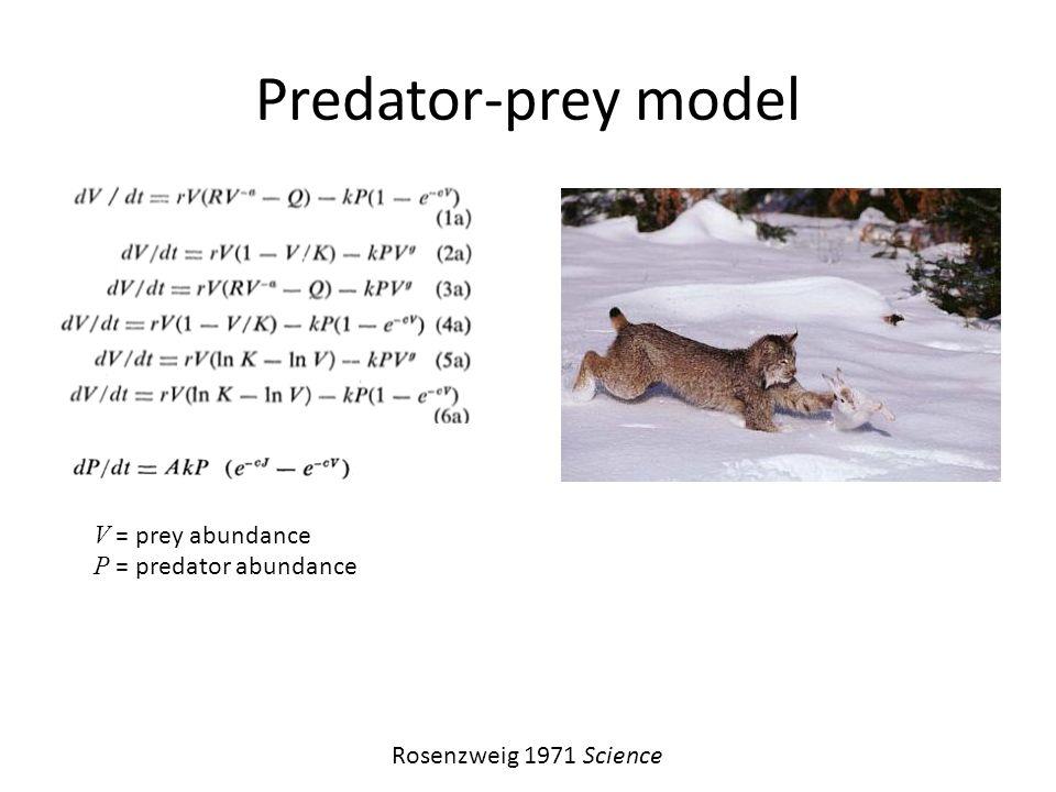 Predator-prey model V = prey abundance P = predator abundance