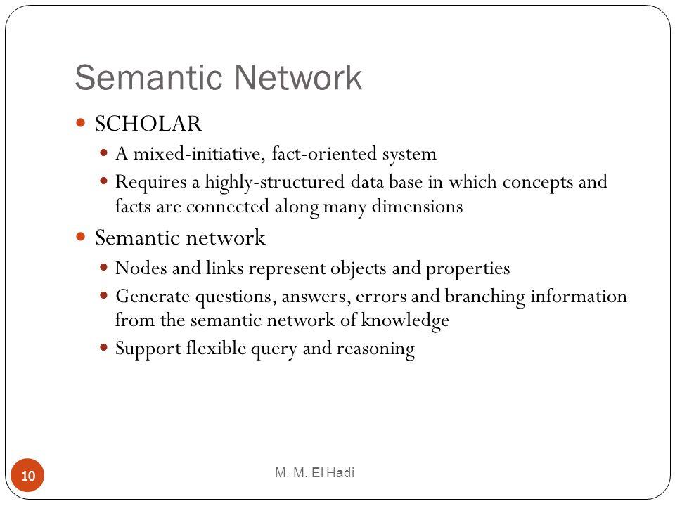 Semantic Network SCHOLAR Semantic network