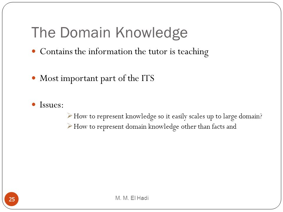 The Domain Knowledge Contains the information the tutor is teaching