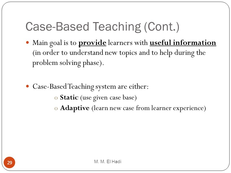 Case-Based Teaching (Cont.)