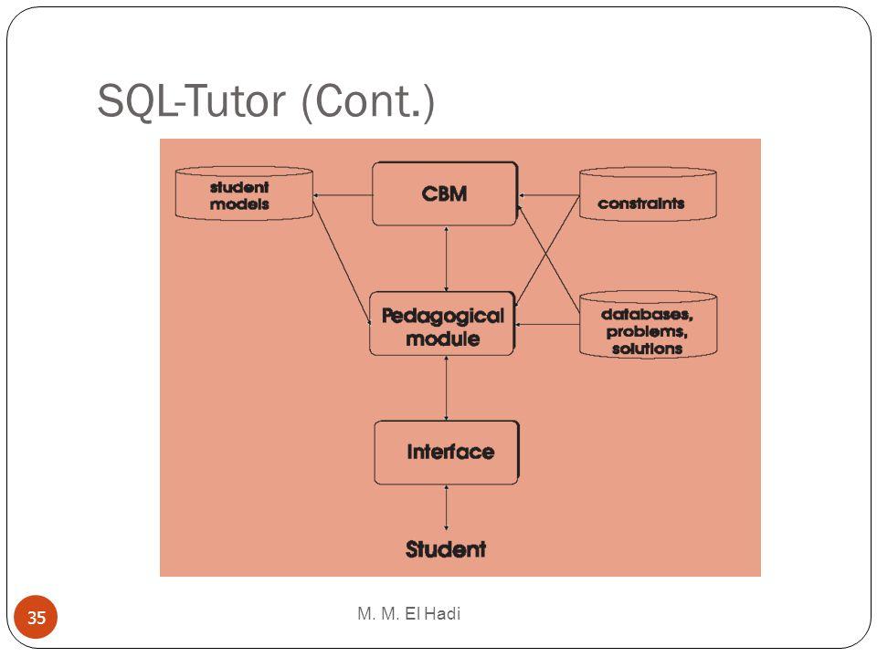 SQL-Tutor (Cont.) M. M. El Hadi
