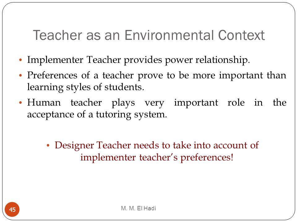 Teacher as an Environmental Context