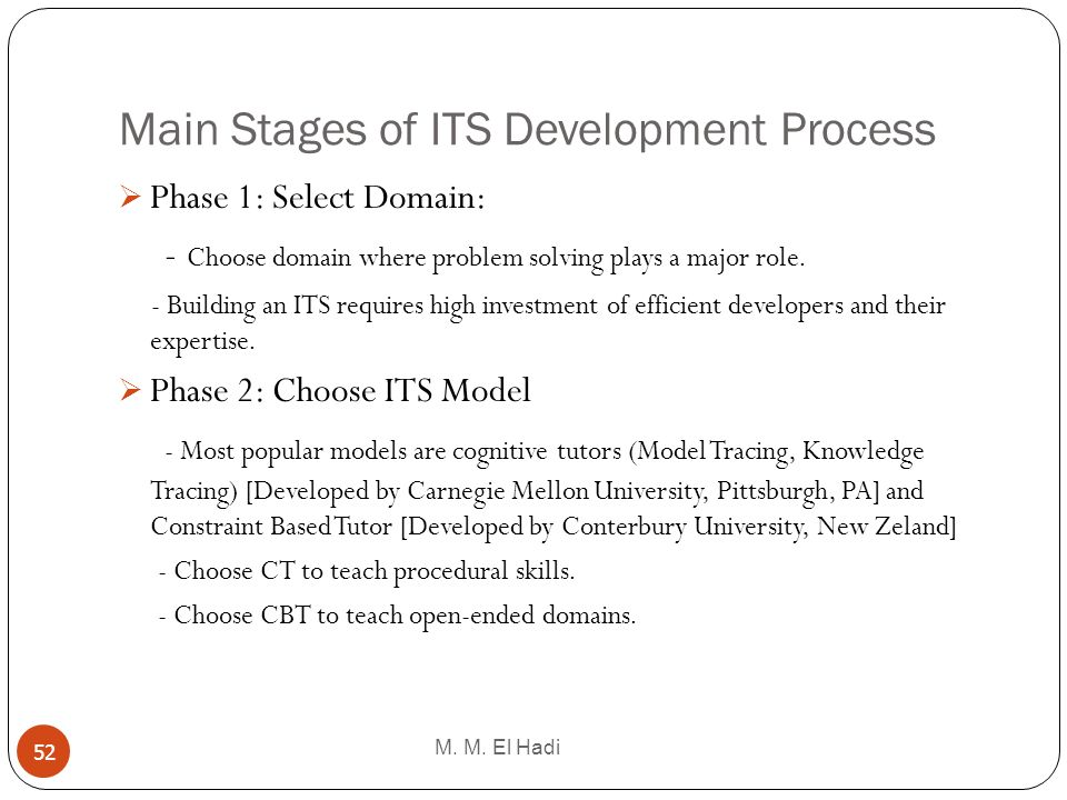 Main Stages of ITS Development Process