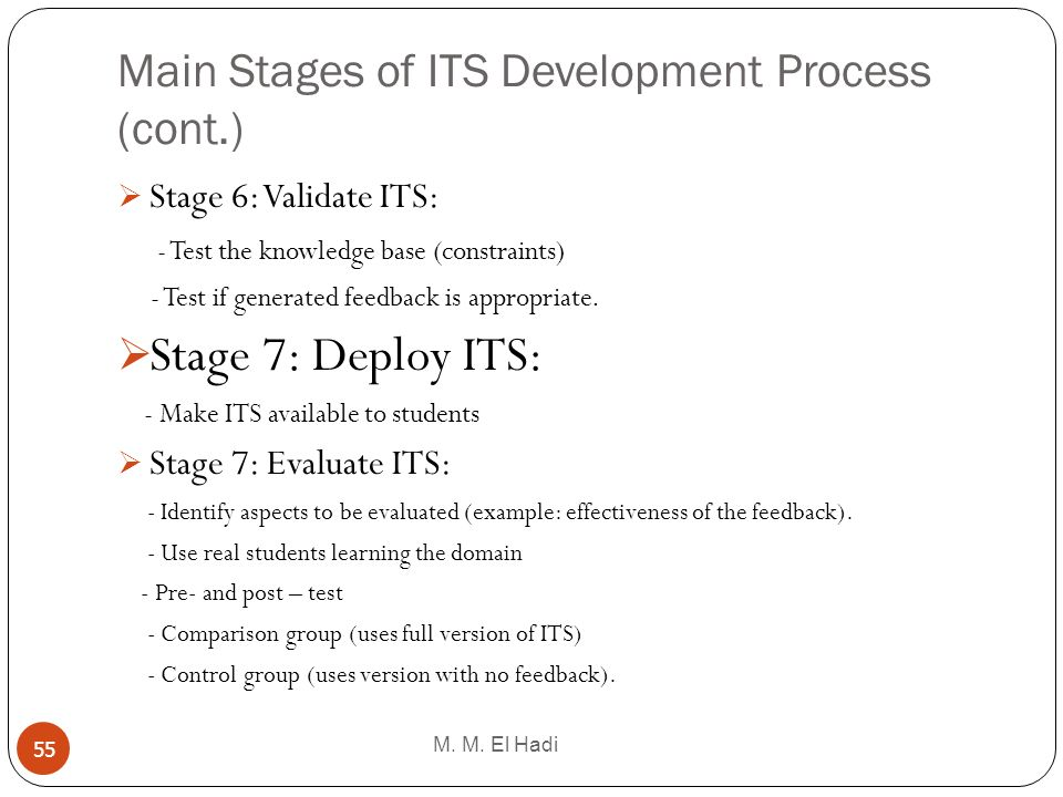 Main Stages of ITS Development Process (cont.)