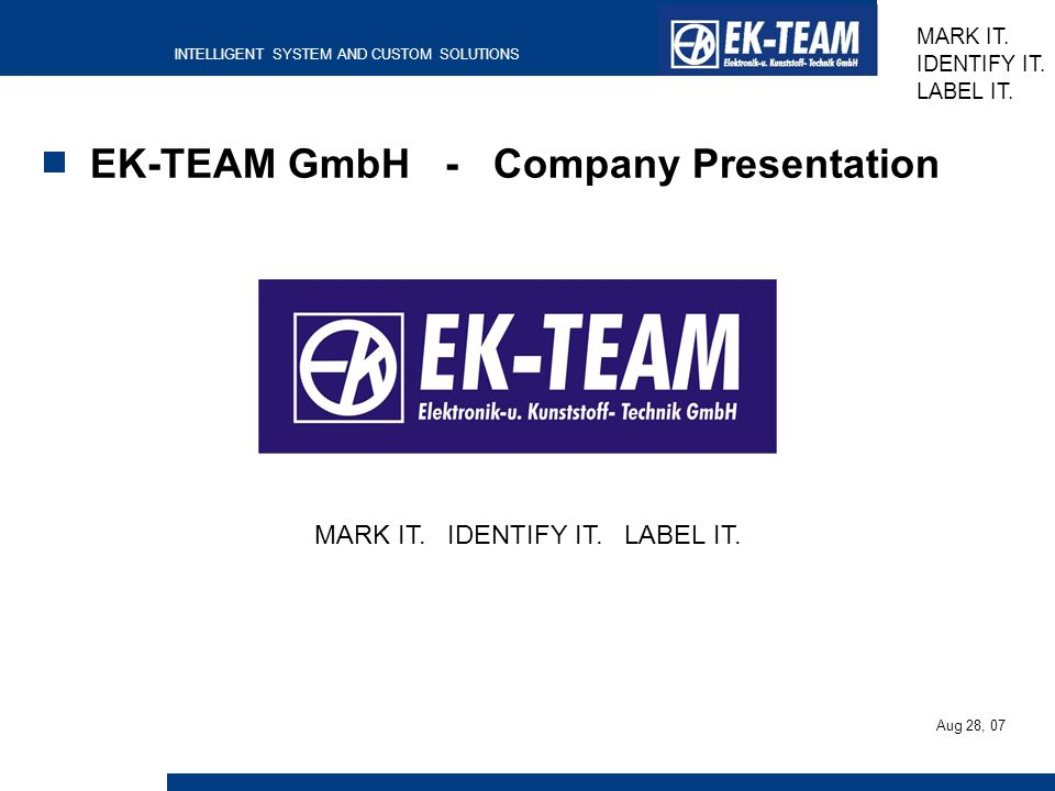 EK-TEAM GmbH - Company Presentation