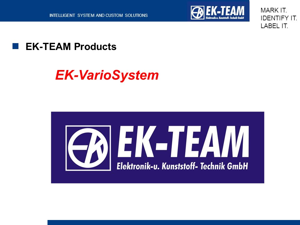 EK-TEAM Products EK-VarioSystem