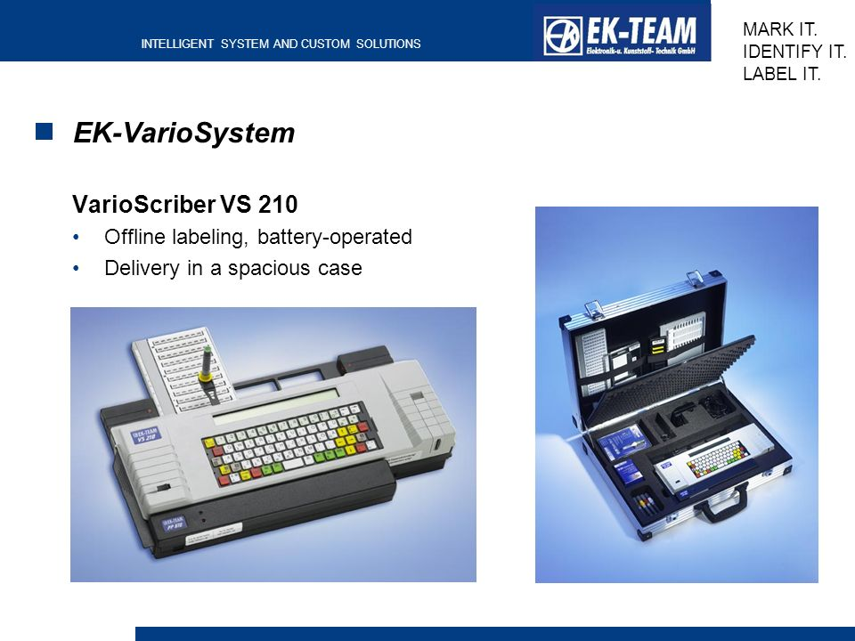 EK-VarioSystem VarioScriber VS 210 Offline labeling, battery-operated