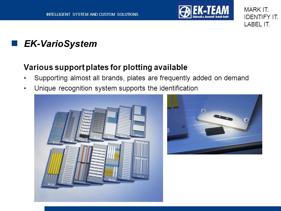 EK-VarioSystem Various support plates for plotting available