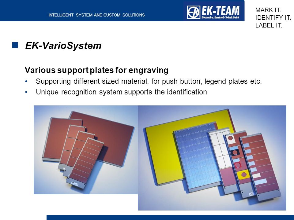 EK-VarioSystem Various support plates for engraving