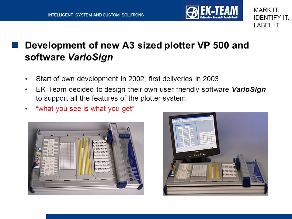 Development of new A3 sized plotter VP 500 and software VarioSign
