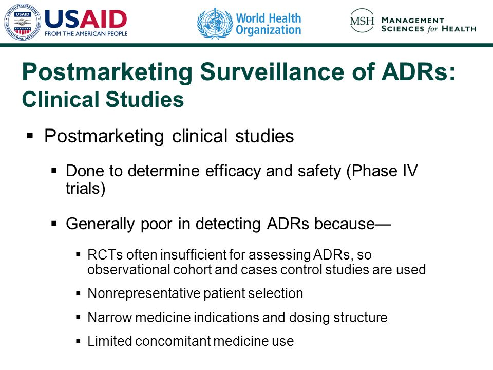 Postmarketing Surveillance of ADRs: Clinical Studies