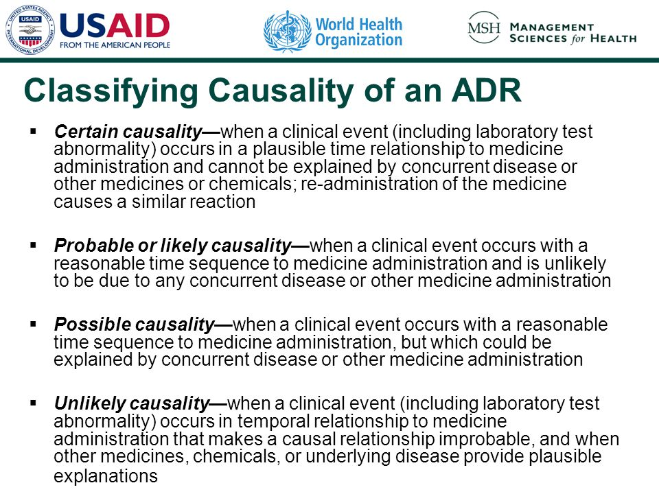 Classifying Causality of an ADR