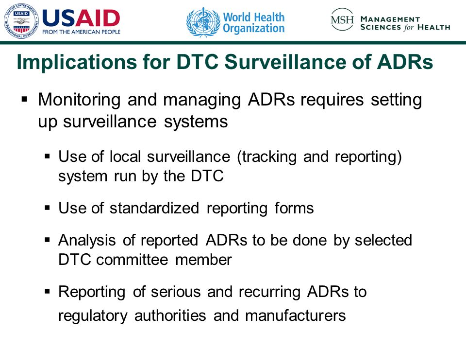 Implications for DTC Surveillance of ADRs