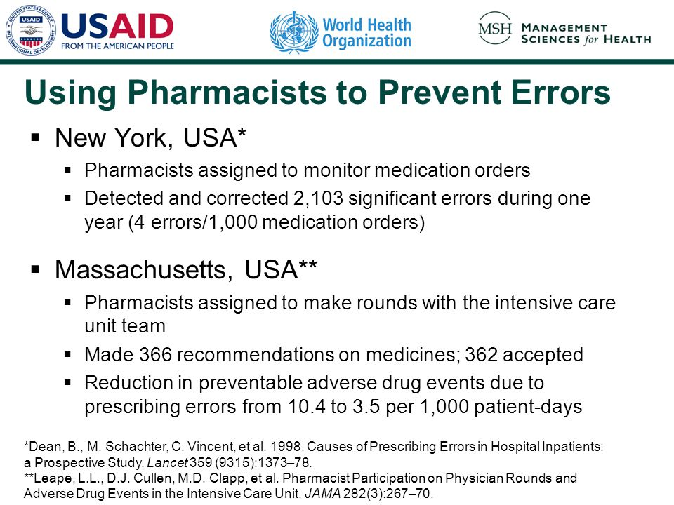 Using Pharmacists to Prevent Errors