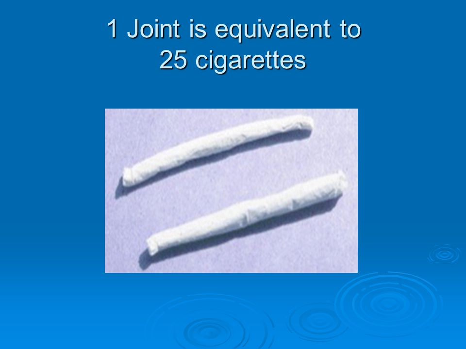 1 Joint is equivalent to 25 cigarettes