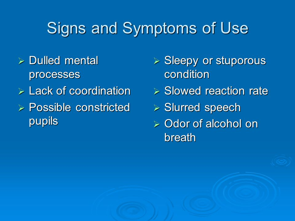 Signs and Symptoms of Use