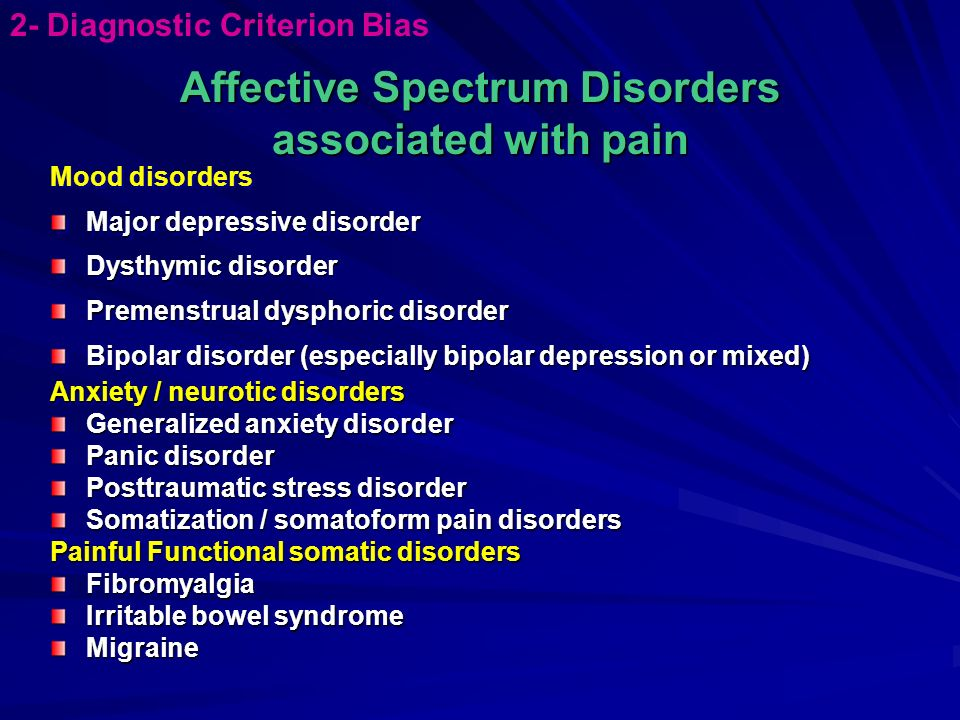Affective Spectrum Disorders associated with pain