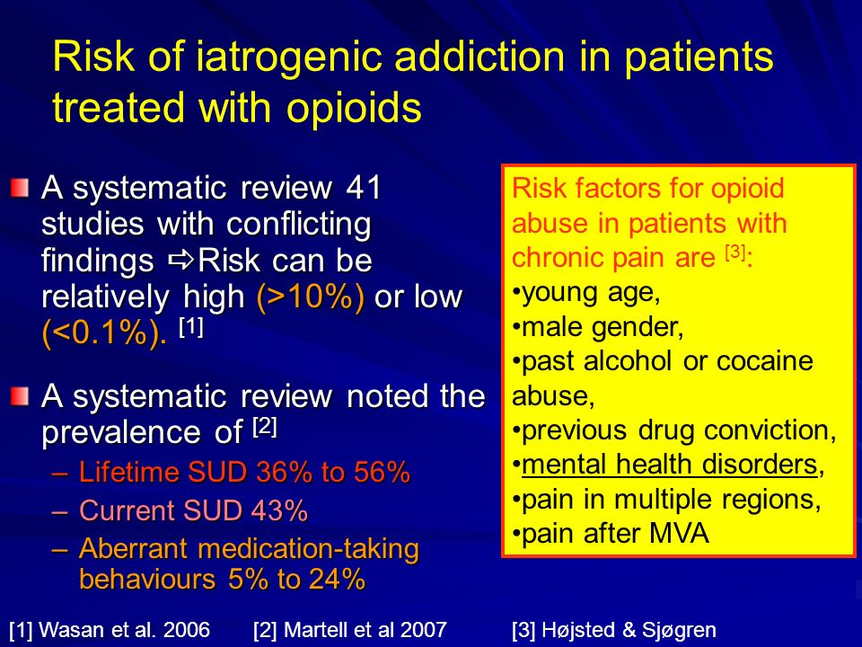 Risk of iatrogenic addiction in patients treated with opioids
