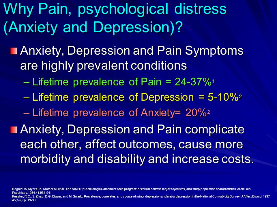 Why Pain, psychological distress (Anxiety and Depression)