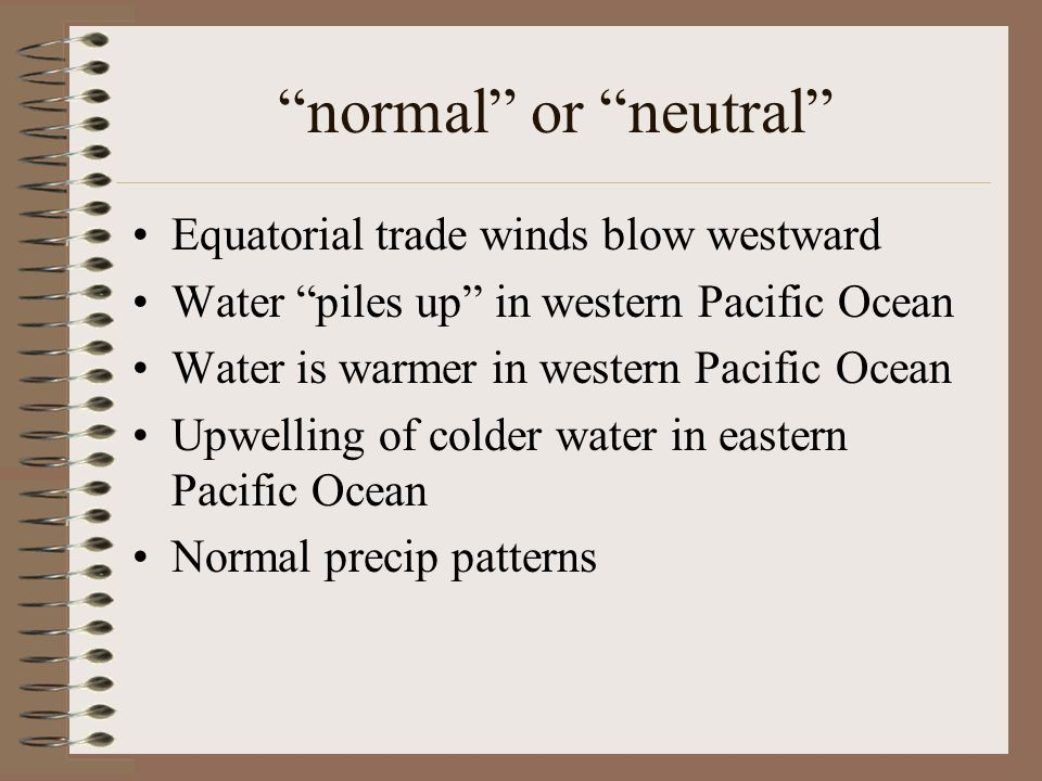 normal or neutral Equatorial trade winds blow westward