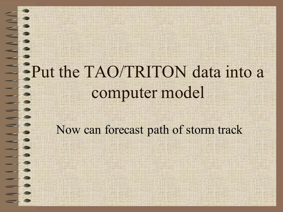 Put the TAO/TRITON data into a computer model