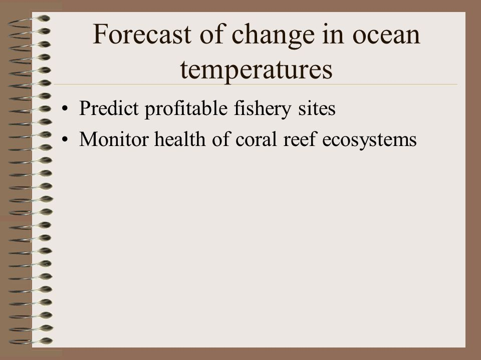 Forecast of change in ocean temperatures